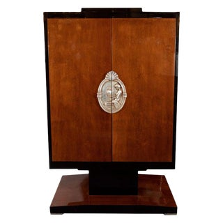 Art Deco Revival Walnut, Black Lacquer and Giltwood Armoire For Sale