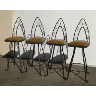 Vintage Mid Century Spanish Style Iron Gold Swivel Barstools- Set of Four Preview