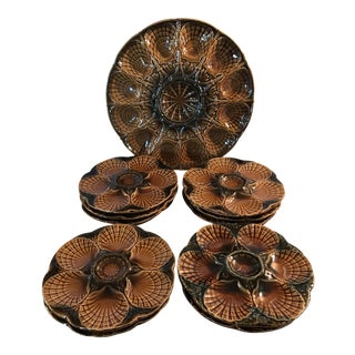11 French Sarreguemines Majolica Oyster Plates - a Set For Sale