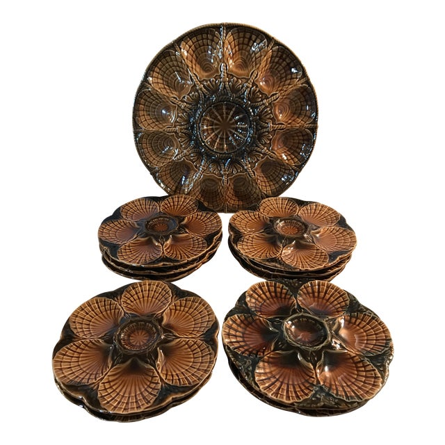 Set 11 French Majolica Oyster Plates by Sarreguemines,10 + Master Server For Sale