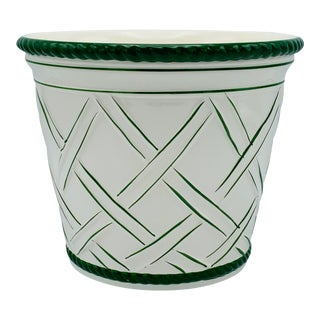1960s Vintage Italian Green and White Ceramic Lattice Motif Cachepot For Sale