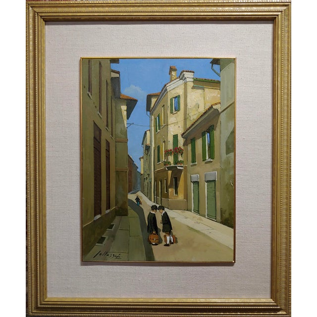 Lucio Sollazzi -School boys at play-Beautiful Italian Oil painting c.1960s Oil painting on board - signed Frame size 21 x...
