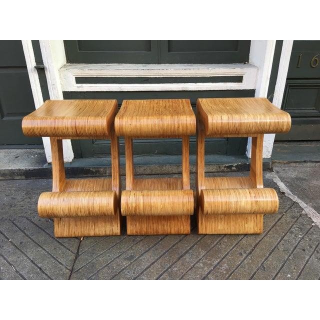1980s Vintage Joe Manus Plywood Stools- Set of 3 For Sale In Philadelphia - Image 6 of 11