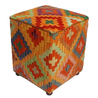Arshs Creola Orange/Rust Kilim Upholstered Handmade Ottoman For Sale