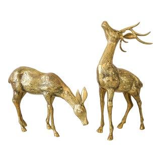Mid Century Brass Deer Floor Statues - Pair