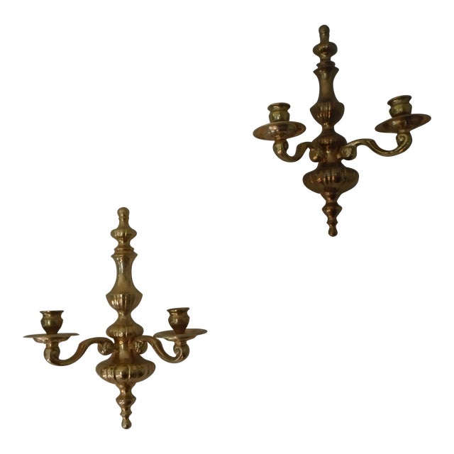 Mid-20th Century Art Deco Gilded Sconces - a Pair For Sale