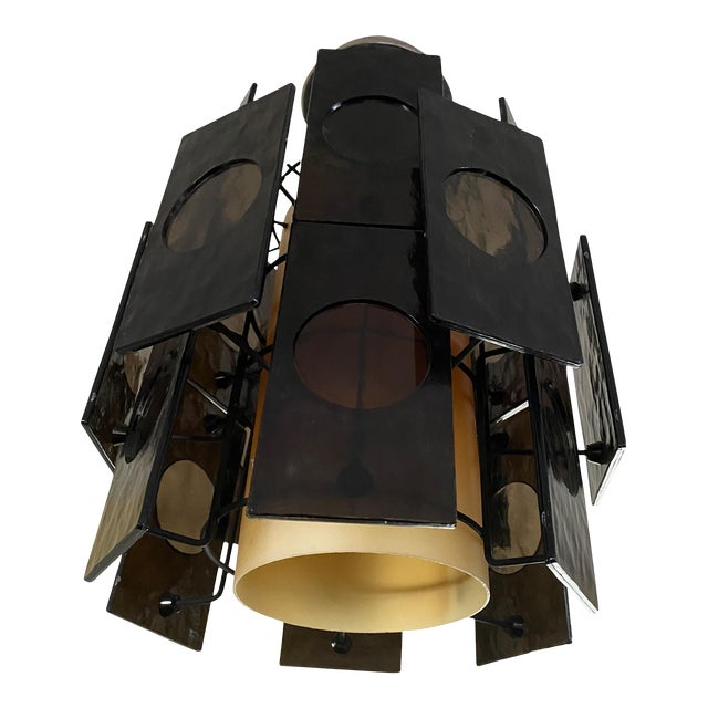 1960s Mid-Century Lucite Panel Smoke Hanging Lamp Chandelier For Sale