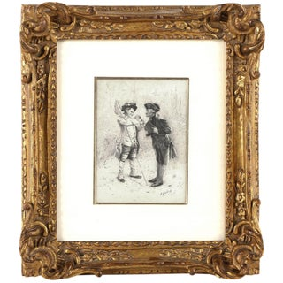 """Masterful Pen & Ink Drawing """"The Butterfly Catcher"""" by Jehan Georges Vibert For Sale"""