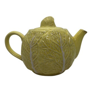 Late 19th Century Antique Yellow Cabbage Majolica Teapot For Sale