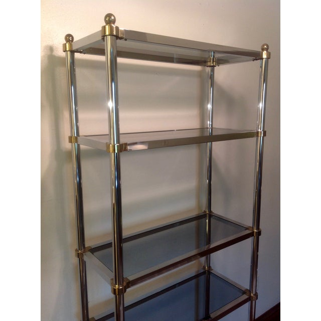 Brass Maison Jansen Etagere, Chrome & Brass Smoked Glass For Sale - Image 7 of 10
