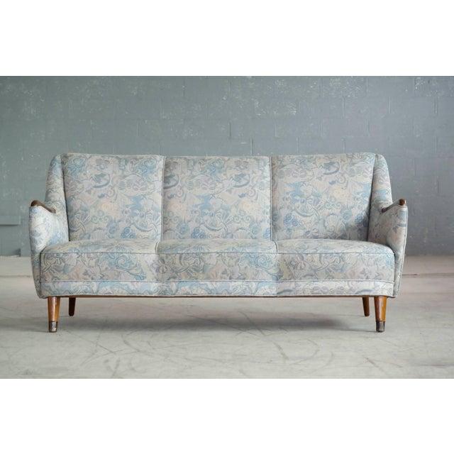 Mid-Century Modern Danish Midcentury Sofa With Teak Armrests For Sale - Image 3 of 10