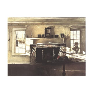 """Andrew Wyeth Big Room 25"""" X 32"""" Poster 1990 Brown Home, Window, Fireplace, Table, Sculpture, Parquet, Portraits For Sale"""