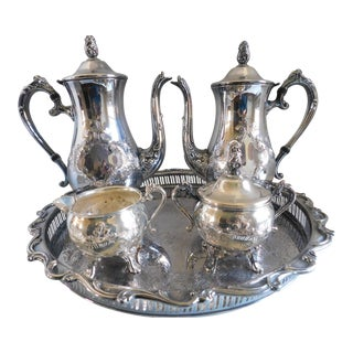 Mid Century Silver Plate Coffee & Tea Set - Set of Five For Sale