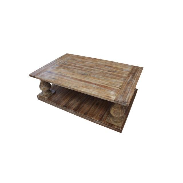 Rustic Double Decker White Wash Coffee Table Chairish