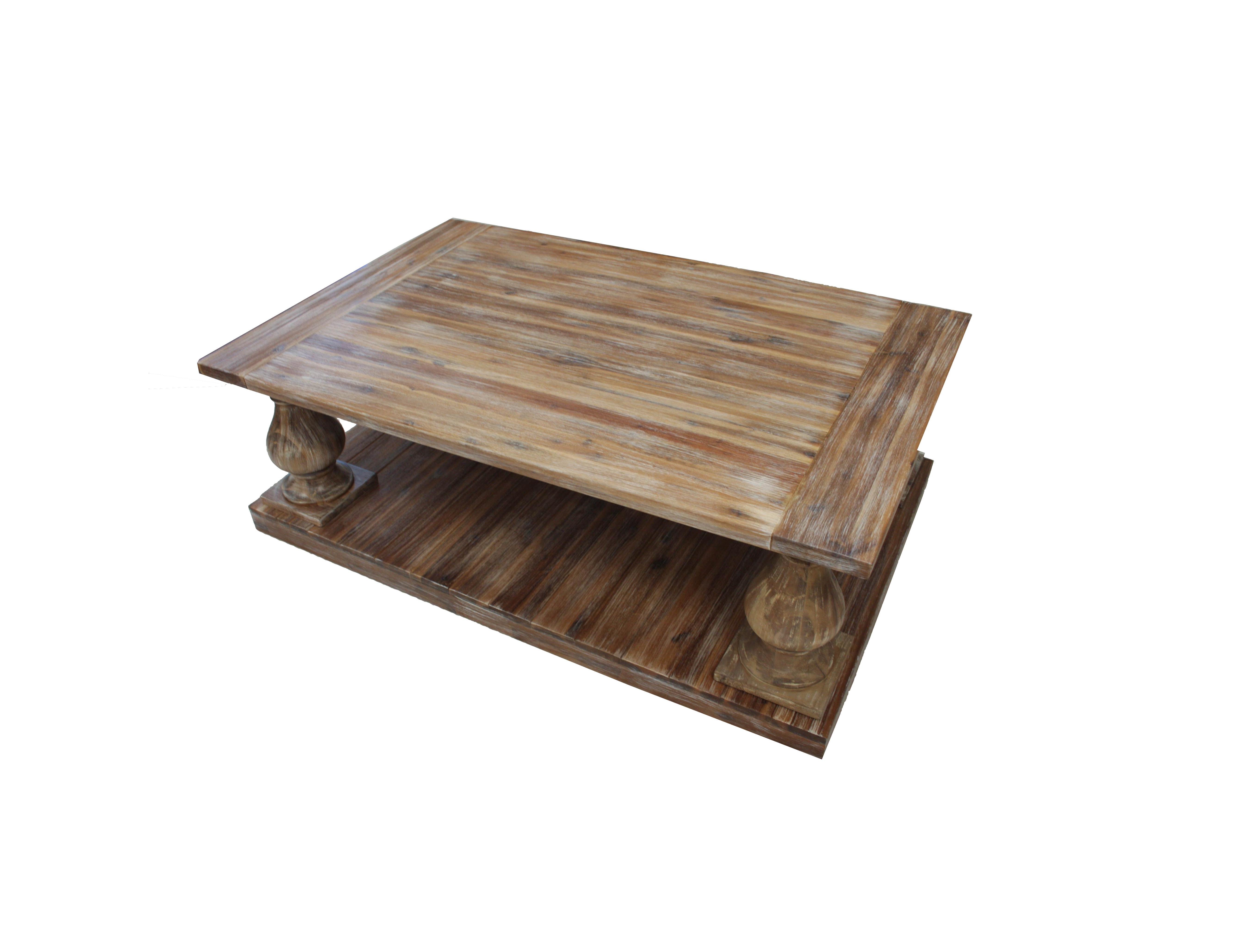 Rustic Double Decker Whitewash Coffee Table. Natural Wood