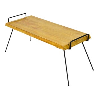 Wood Bench / Table With Iron Legs For Sale