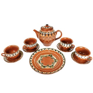Vintage Handmade Hand Painted Soviet Bulgarian Red Clay Pottery Tea/Coffee Serving Set - 10 Pieces For Sale