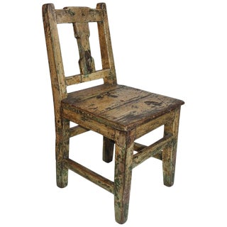 19th Century Original Painted Pueblo Childs Chair For Sale