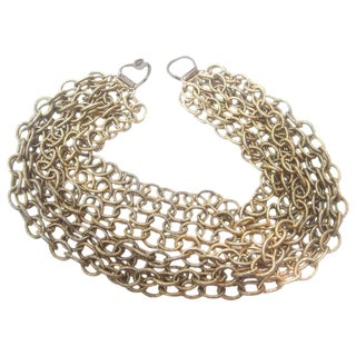 Bold Gilt Choker Chain Necklace Designed by R J Graziano For Sale