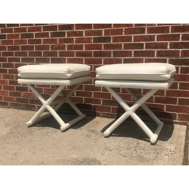 White Leather X Base Benches - a Pair For Sale - Image 12 of 13