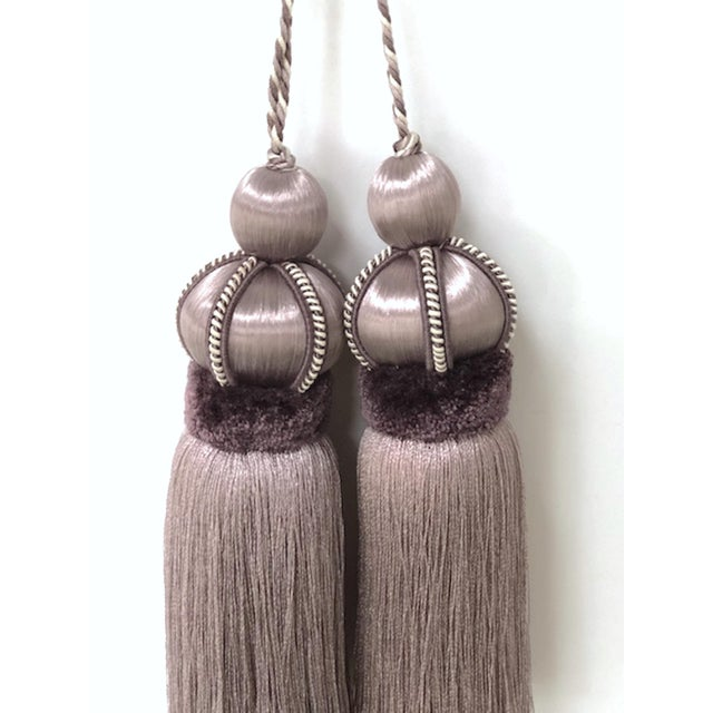 English Lavender Key Tassel With Cut Velvet Ruche - a Pair For Sale - Image 3 of 12