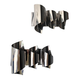 Pair of Spiral Metal Chrome Sconces by Reggiani. Italy, 1970s For Sale
