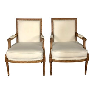 Italian Carved Walnut Armchairs Bergeres With New Upholstery - a Pair For Sale