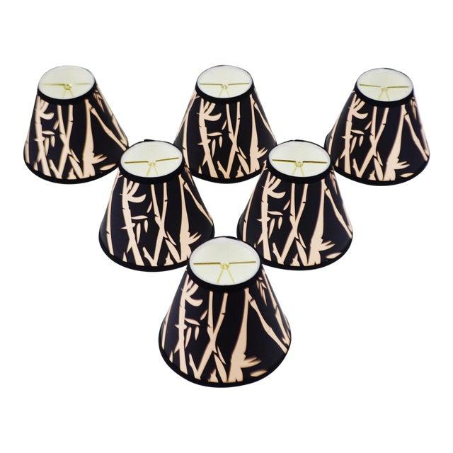 Black & Tan Bamboo Design Chandelier Shades - Set of 6 - Image 1 of 7