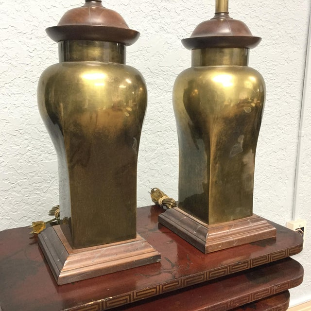 Brass 20th Century Hollywood Regency Ethan Allen Brass Table Lamps - a Pair For Sale - Image 8 of 9