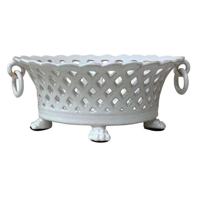 French White Reticulated Basket Emile Tessier, circa 1920 For Sale - Image 9 of 9