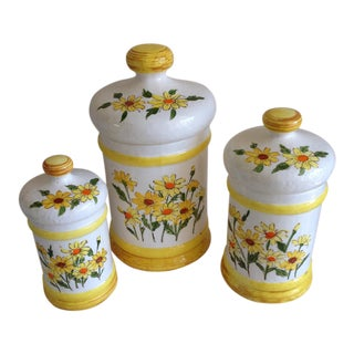 Mid-Century Floral Daisy Canister - Set of 3