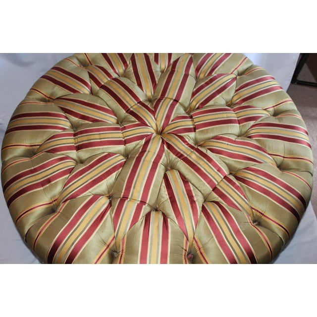 Henredon Henredon Round Tufted Striped Silk Ottoman For Sale - Image 4 of 8