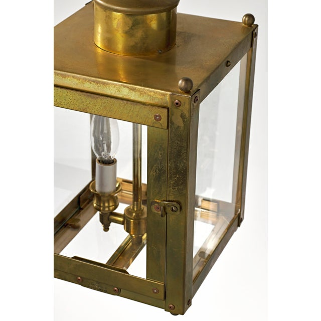 Late 20th Century Late 20th Century Traditional Brass and Glass Two Light Lantern For Sale - Image 5 of 13