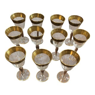 1930s Minton Tiffin Glastonbury Lotus 22Kt Cordial Glasses - Set of 11 For Sale