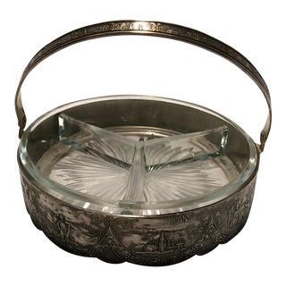 Vintage Silver Plate & Crystal Dish With Silver Handle For Sale