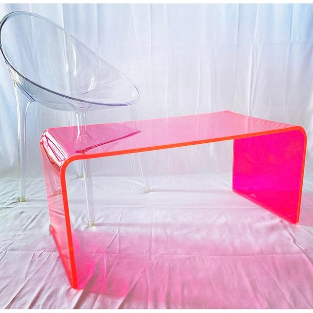 """2010s """"The Long Game"""" Coffee Table in Neon Pink For Sale - Image 5 of 9"""