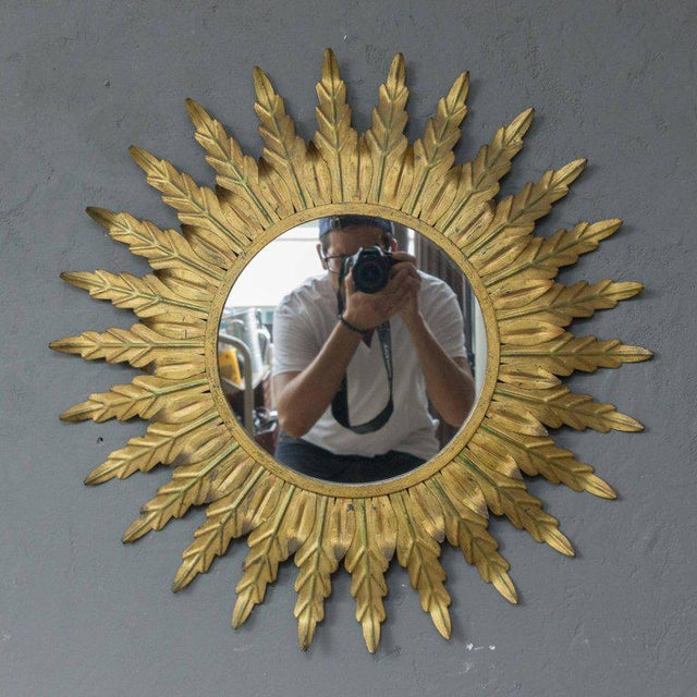 Gilt Metal Sunburst Mirror With Radiating Leaves and Traces of Green - Image 2 of 6