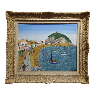 1960s Landscape Oil Painting of S. Angelo Beach Ischia by Miguel Garcia Vivancos For Sale