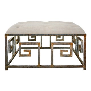 Hand Finished Iron Greek Key Ottoman