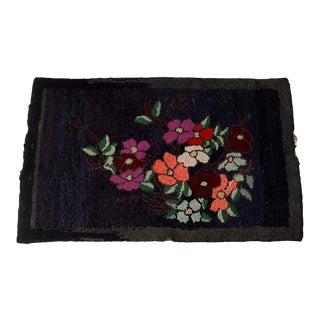 Antique Black Floral Hooked Rug For Sale