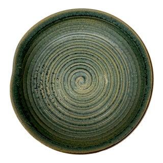 Japanese Ribbed Ceramic Dish For Sale