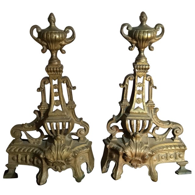 Antique Andiron Set - Image 1 of 5