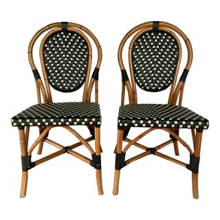 French Style Parisian Cafe Bistro Rattan Dining Chairs- Pair For Sale