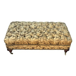 Superb Scalamandre Gold Chenille Designer Tufted Ottoman For Sale