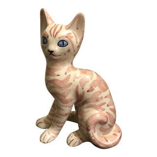 Silvestro Bellini Italian Art Pottery Cat Figurine For Sale