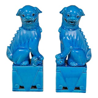 Oversize Pair of Vintage Turquoise Foo Dogs For Sale