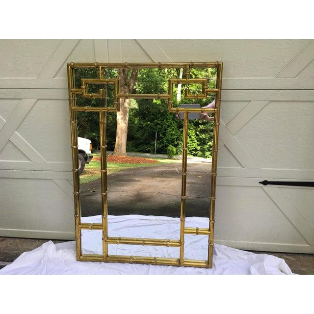 Mastercraft Brass Faux Bamboo Mirror W/Greek Key For Sale - Image 10 of 10