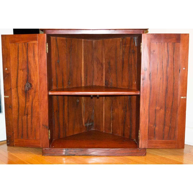 Antique Railroad Hand Carved Red Jarrah Wood Corner Bookcase For Sale - Image 4 of 13