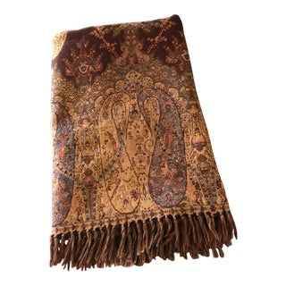 Vintage Woven Wool Paisley Throw