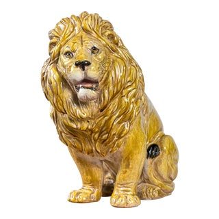 Glazed Terra Cotta Lion Made in Italy For Sale